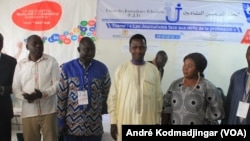 Les responsables des journalistes tchadiens demandent au gouvernement d'appuyer les médias privés à N'Djamena, au Tchad, le 19 mai 2020. (VOA/André Kodmadjingar)