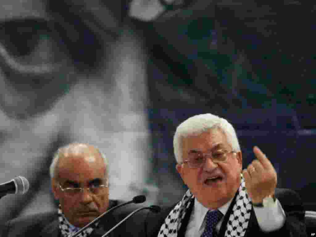 Palestinian President Mahmoud Abbas has been in power since succeeding Yasser Arafat in January 2005. He is shown at a 2009 Fatah conference in the West Bank town of Bethlehem. (AP)