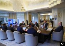 Президент Туреччини Реджеп Таїп Ердоган під час телеконференції з лідерами G20