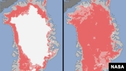 This satellite image from NASA shows the extent of surface melt over Greenland's ice sheet on July 8, 2012 (left) and July 12, 2012 (right).