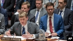 British Deputy Ambassador to the United Nations Jonathan Allen speaks during a Security Council meeting on the situation between Britain and Russia, March 14, 2018, at U.N. headquarters.