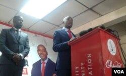 Nelson Chamisa and MDC-T presidential spokesperson Dr. Nkululeko Sibanda.