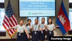 "The five girls that created the ""Cambodia Identity Product"" mobile app pose for group photo at the US Embassy in Phnom Penh. They will be the first Cambodian team to compete in the Technovation ​World Pitch Summit at Google headquarters in Mountainview, California."