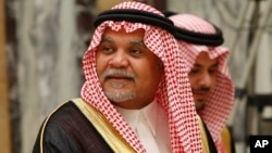 File - Saudi Prince Bandar bin Sultan seen at his palace in Riyadh, Saudi Arabia.