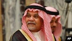 FILE - Saudi Prince Bandar bin Sultan seen at his palace in Riyadh, Saudi Arabia, June 4, 2008.