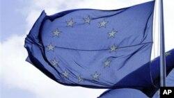 벨기에 브뤼셀 유럽연합 건물의 깃발. (자료사진)