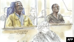 "FILE - A courtroom sketch from May 10, 2016 shows Tito Barahira (back, L) and Octavien Ngenzi (back, R), two former Rwandan mayors who are accused of orchestrating ""massive and systematic summary executions"" in the central African country's 1994 genocide, attending their trial at the Paris (France) courthouse."