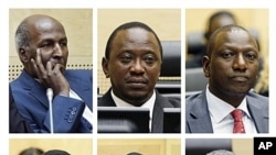 This combination image made from file photos taken at various dates in 2011 shows the six suspects in the International Criminal Court (ICC) investigation on the post-election violence in Kenya, attending hearings at the Hague, Netherlands. Top row from l