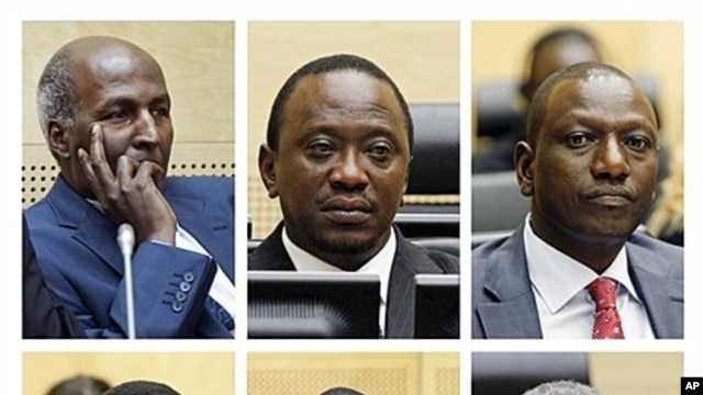 Suspects: Top from left, Mohammed Hussein Ali, Uhuru Muigai Kenyatta, William Samoei Ruto; Henry Kiprono Kosgey, Joshua Arap Sang, Francis Kirimi Muthaura (undated file image).