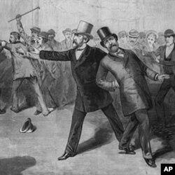 1881年制作的加菲尔德被刺的图片