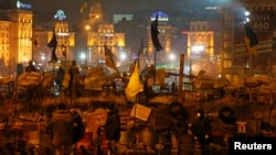 13일 키예프 독립광장에서 시위가 열린 모습