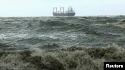 A ship navigates the Bay of Bengal as cyclone Mahasen approaches in Chittagong, Bangladesh, May 16, 2013.