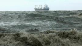 A ship navigates the Bay of Bengal as cyclone Mahasen approaches in Chittagong, Bangladesh, May 16, 2013.