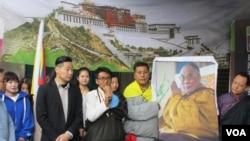 台灣公民團體及藏人社團星期四舉行310西藏抗暴日60周年遊行行前記者會。(美國之音張永泰)