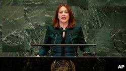 La ecuatoriana María Fernanda Espinosa, expresidenta de la Asamblea General de la ONU y excanciller de su país, busca ser la primera mujer en asumir la secretaría general de la OEA. Foto AP.
