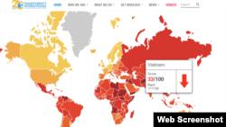 Tổ chức Minh bạch Quốc tế (TI) công bố Chỉ số cảm nhận tham nhũng năm 2018, cho biết Việt Nam chỉ đạt 33/100 điểm, xếp hạng 117/180 toàn cầu.