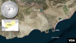 Peta wilayah Aden dan Al-Anad, Yaman (Foto: dok).