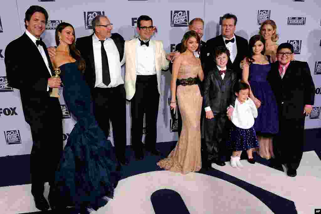 """The cast of """"Modern Family"""" arrives at the 2012 FOX Golden Globe After Party at the Beverly Hilton in Los Angeles on January 15, 2012. The show won Best Television Series - Comedy or Musical."""