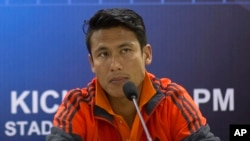 FILE – In this March 11, 2015 file photo, Nepal soccer team captain Sagar Thapa attends a press conference on the eve of a World Cup qualifying match against India in Gauhati, India.