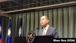 台湾外交部长李大维2017年6月13日宣布与巴拿马终止外交关系 (美国之音记者申华 拍摄)