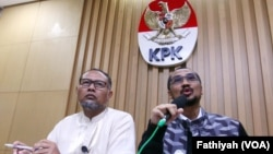 KPK menetapkan calon Kapolri Komisaris Jenderal Budi Gunawan sebagai tersangka tindak korupsi, Selasa, 13 Januari 2014 (Foto: VOA/Fatiyah)