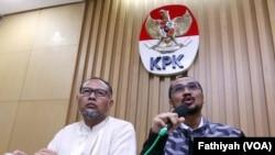 KPK saat menetapkan calon kapolri sebagai tersangka di kantornya (13/1).