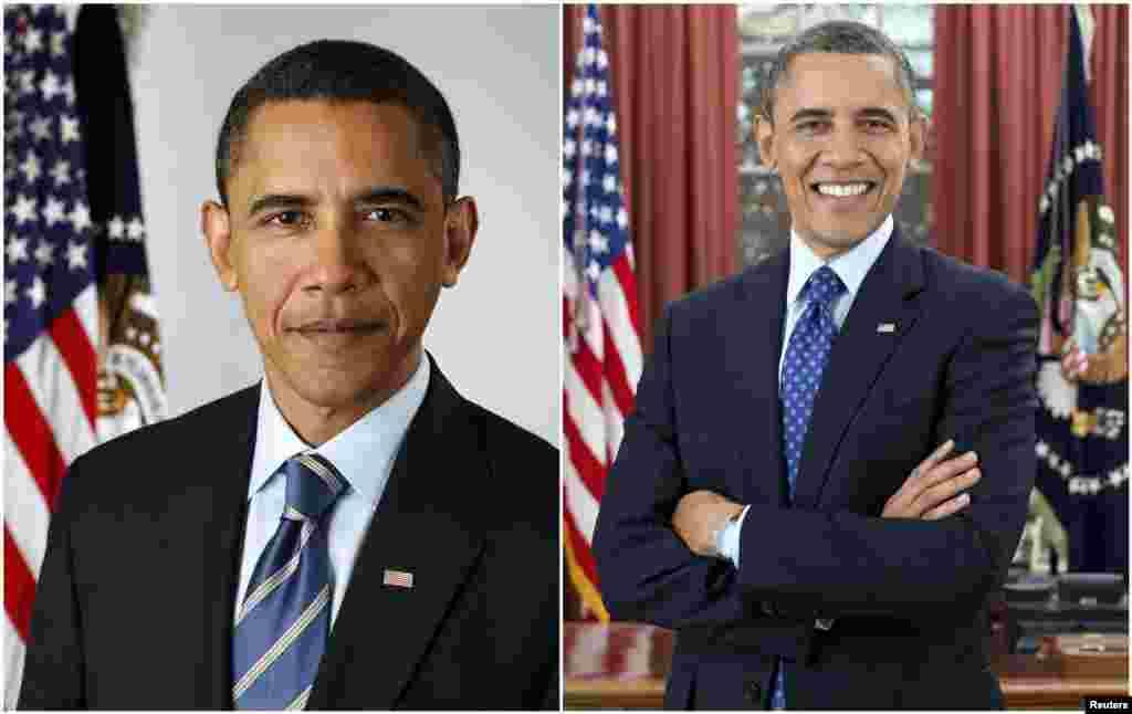 Prezident Obama 2009 (chapda) va 2013-yilda.