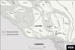 Bản đồ các công trường xây dựng của dự án đập Don Sahong.