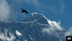 FILE - In this May 27, 2019, file photo, a bird flies with Mount Everest seen in the background from Namche Bajar, Solukhumbu district, Nepal. (AP Photo/Niranjan Shrestha, File)