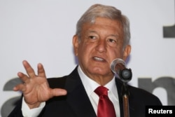 Andres Manuel Lopez Obrador, of the National Regeneration Movement, speaks at an event to present new members of his campaign staff, in Monterrey, Mexico, Jan. 15, 2018. The leftist opposition candidate has enjoyed a double-digit poll lead over his ruling-party rival in recent surveys.