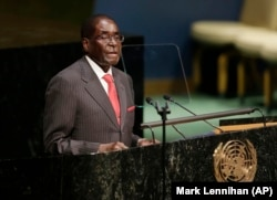 FILE: President Robert Mugabe at UN Meeting on SDGs in 2016