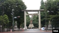 东京千代田区九段下的靖国神社(美国之音歌篮拍摄)
