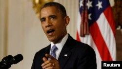 美國總統奧巴馬10月17日在白宮發表講話
