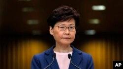 """홍콩 정부 수반인 캐리 람 행정장관이 9일 기자회견을 열었다. 람 장관은 이 자리에서 """"송환법' 포기를 선언했다."""