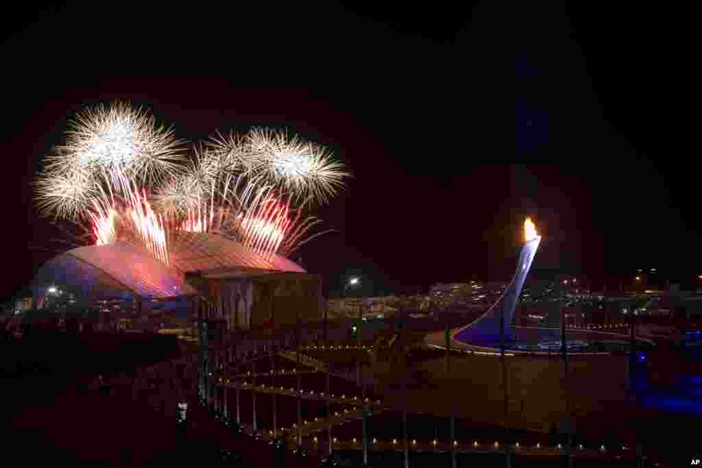 Fireworks explode over Olympic Park during the closing ceremony of the 2014 Winter Olympics, Feb. 23, 2014.