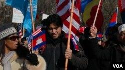 要求柬埔寨民主人权集会 (美国之音 杨晨拍摄)