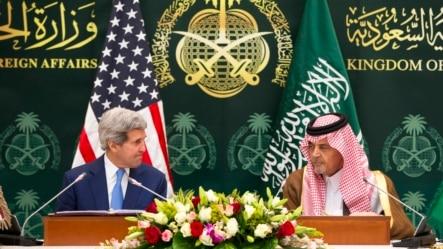 Ngoại trưởng Mỹ John Kerry dự cuộc họp báo với Ngoại trưởng Saudi Arabia Saud bin Faisal bin Abdulaziz al-Saud ở Riyadh, 05/3/2015.