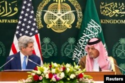 U.S. Secretary of State John Kerry (L) attends a news conference with Saudi Arabia's Foreign Minister Saud bin Faisal bin Abdulaziz al-Saud in Riyadh, March 5, 2015.