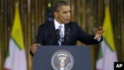 U.S. President Barack Obama speaks at Rangoon University's Convocation Hall in Rangoon, Burma, Monday, November 19, 2012.