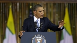 U.S. President Barack Obama speaks at Rangoon University's Convocation Hall in Rangoon, Burma, Monday, Nov. 19, 2012.