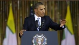 U.S. President Barack Obama speaks at Rangoon University's Convocation Hall in Rangoon, Burma, Monday, Nov. 19, 2012.