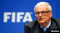 Theo Zwanziger, former president of the German Football Association and member of the FIFA's executive committee, addresses a news conference in Zurich, March 2014.