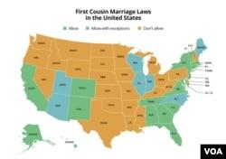 Mapa američkih saveznih država prema tome kako se odnose ka brakovima između bliskih rođaka. Zelena boja - dozvoljeni brakovi; žuta - nedozvoljeni; plava - dozvoljeno uz izuzetke