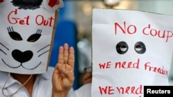 在曼谷的反泰國政變示威者