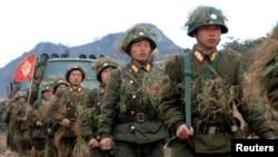 北韓士兵於一處未公佈的地點接受訓練(圖片由北韓官方在平壤新聞KCNA提供)