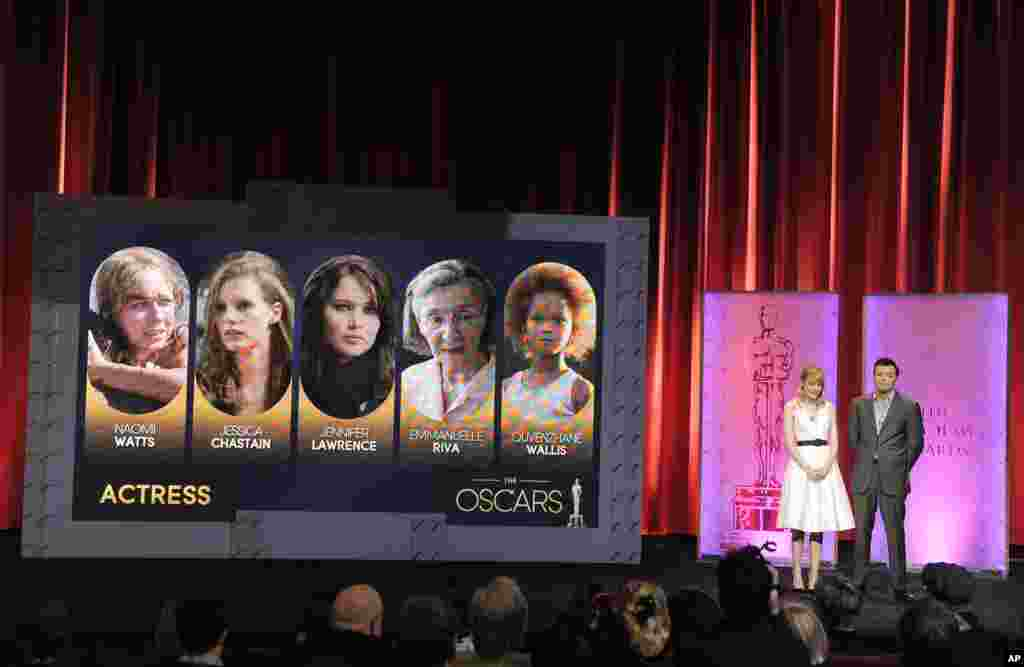 Actress Emma Stone and 2013 Oscar host Seth MacFarlane present the 85th Academy Awards nominations for Best Actress in Beverly Hills, California. The 85th Annual Academy Awards will take place on February 24 at the Dolby Theatre in Los Angeles.