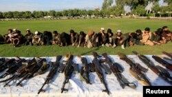 Kombatan ISIS yang menyerah kepada pemerintah Afghanistan ditampilkan di hadapan media di Jalalabad, 17 November 2019.