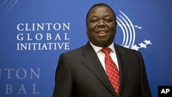 Zimbabwe's Prime Minister Morgan Tsvangirai arrives at the Clinton Global Initiative reception at the Museum of Modern Art in New York, September 21, 2011.