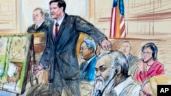 This courtroom sketch depicts Ahmed Abu Khattala listening to a interpreter through earphones during the opening statement by assistant U.S. attorney John Crabb, second from left, at federal court in Washington in the trial presided by U.S. District Judge Christopher Cooper, Oct. 2, 2017.