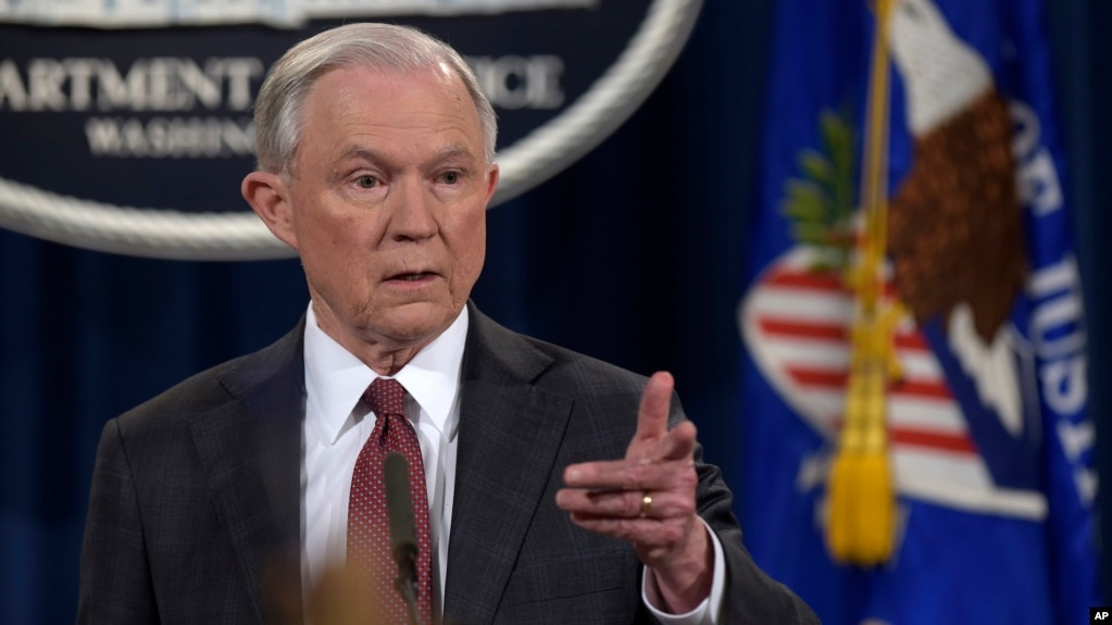 attorney general jeff sessions speaks during a news conference at the justice department in washington